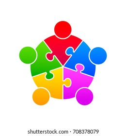 Community puzzle union support on the white background. Vector illustration