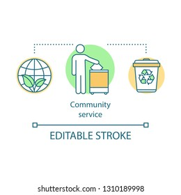 Community service concept icon. Wildlife volunteering idea thin line illustration. Voluntary. Environment protection. Planet saving. Vector isolated outline drawing