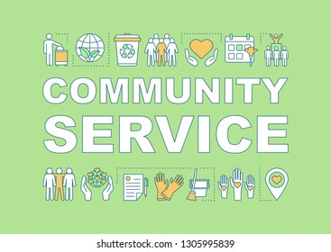 Community service word concepts banner. Volunteering. Presentation, website. NGO. Nonprofit organization. Isolated lettering typography idea with linear icons. Vector outline illustration