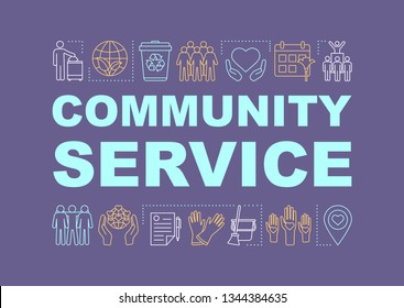 Community service word concepts banner. Volunteering. NGO. Nonprofit organization. Presentation, website. Isolated lettering typography idea with linear icons. Vector outline illustration
