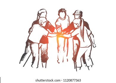 Community, teamwork, volunteer concept. Hand drawn group of friendly volunteers putting hands together. People doing charity isolated vector illustration.