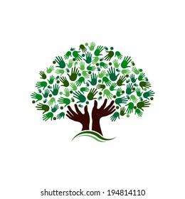 Community tree image. Vector icon design