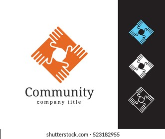 Community vector logotype template for social service, network, partnership, sales and development business. Hands shake in circle simple illustration or icon.