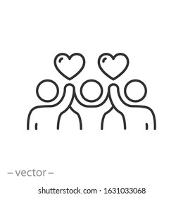 community voluntary group icon, charity work, people welfare, thin line web symbols on white background - editable stroke vector illustration eps10