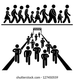 Community Walk and Run Marching Marathon Rally Stick Figure Pictogram Icon