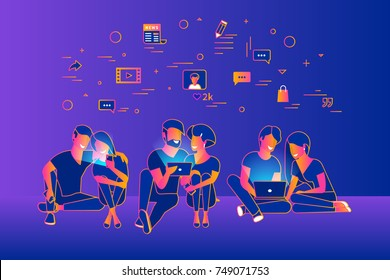 Community of young people using gadgets such as smartphone, tablet and laptop sitting on floor and enjoying networks. Gradient line vector illustration of of internet addiction and communication