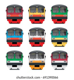 Commuter Train. Front view. Front view. Illustration in different colors