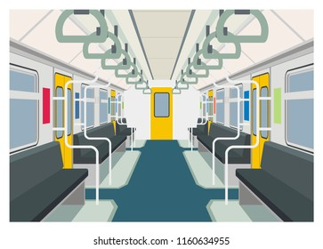 commuter train interior simple illustration, perspective view