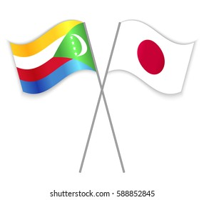 Comoran and Japanese crossed flags. Comoros combined with Japan isolated on white. Language learning, international business or travel concept.