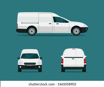 Compact cargo van set. Сargo van with side, front and back view. Vector flat style illustration.