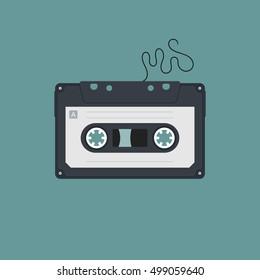 Compact Cassette Flat Vector Illustration