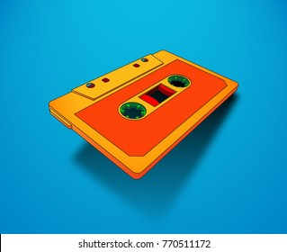 Compact cassette for music or audio records with magnetic tape, 80s memphis styled bright vibrant colors