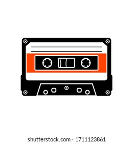Compact cassette outline vector icon, analog magnetic audio tape illustration