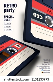 Compact cassette poster with flying old music mix tapes on retro 80s styled party invitation