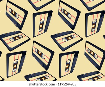 Compact cassette seamless pattern with floating or flying 80s styled tape in perspective view