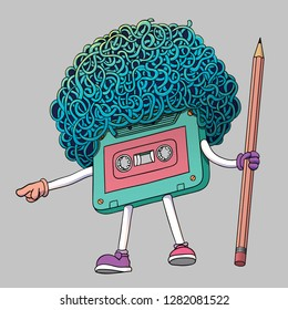 Compact Cassette Tape Character with Pencil. Super Afro Haircut Style. Mixtape Illustration. You Are Next Gesture. Pop Music 80s, 90s. Graphics, Banners, Advertisements, Stickers, Labels, T-shirt.