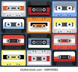 Compact cassettes. Set. Vector illustration flat design style