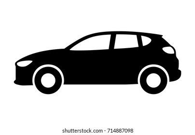 Compact crossover hatchback vehicle or suv side view flat vector icon for transportation apps and websites