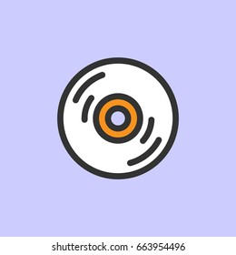 Compact disc isolated color line icon. Vector illustration