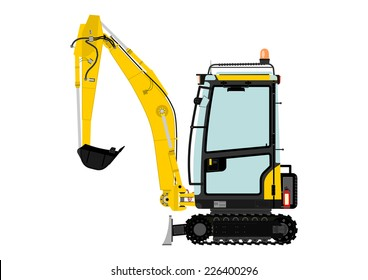 Compact excavator. Vector illustration without gradients on one layer.