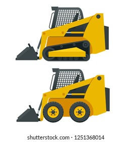 Compact Excavators. Steer Loader side view isolated on a white background