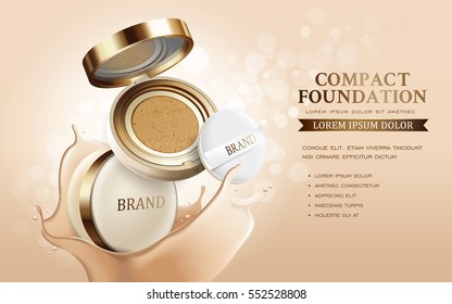 Compact foundation ads, attractive makeup essential product with texture isolated on glitter bokeh background, 3d illustration