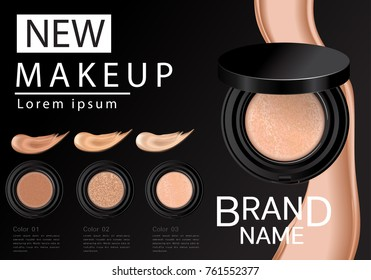 Compact foundation ads, attractive makeup essential product with texture isolated on glitter background, 3d illustration