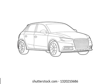 Compact hatchback vector layout. Audi A1.