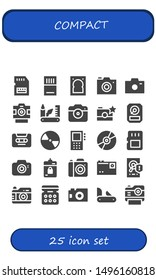 compact icon set. 25 filled compact icons.  Collection Of - Sd card, Memory card, Hard drive, Photo camera, Swiss army knife, Hdd, Cassette, Compact disc, Dictaphone, Harddrive