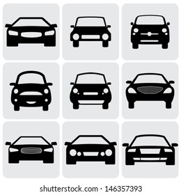 compact and luxury passenger car  icons ( signs ) front view- vector graphic. This illustration represents nine symbols of car's front side in black color against white background