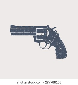 compact modern revolver, with grunge texture, isolated on white, vector illustration, eps10, easy to edit