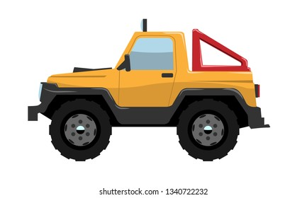 Compact Offroad SUV car side view. Vehicle concept Cartoon Flat color vector illustration.
