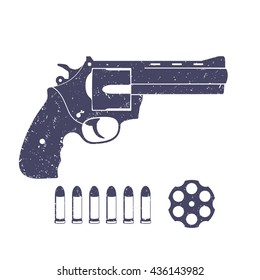 compact revolver, handgun, cylinder of revolver, cartridge, bullets, gun isolated on white, vector illustration
