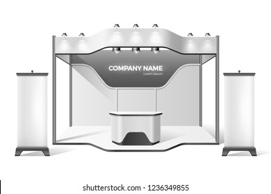 Company advertising exhibition stand construction with stage, podium for presentations with roof, sporlights and product promotion area with banners. Business expo vector mockup for corporate identity