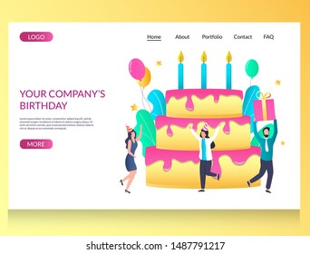 Company birthday vector website template, web page and landing page design for website and mobile site development. Corporate happy birthday party celebration.