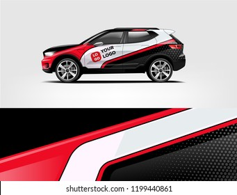 Company branding Car decal wrap design vector. Graphic abstract stripe racing background kit designs company car