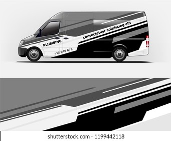 Company branding van decal wrap design vector. Graphic livery background kit designs company van