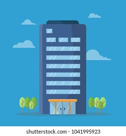 Company building in flat style. Vector Illustration