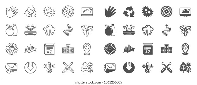 Company building, Vocabulary, Profits timeline line icons. Turbine, Wind, Thermostat icons. Tree, Bacteria, Healthy food. Company chart, wind turbine. Cloud services, Timeline, Download. Vector