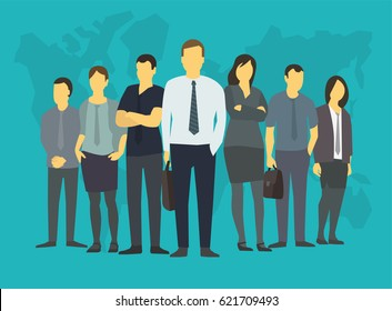 Company business group people of office clerks. With his leader, boss. Training on the stock exchange. On a blue background world map.