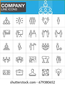 Company, Business people line icons set, outline vector symbol collection, linear pictogram pack. Signs, logo illustration. Set includes icons as manager, team, handshake, high five, business meeting