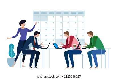 Company business team working together planning and scheduling their operations agenda on a big calendar. Flat style illustration. deadline project concept.