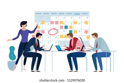 Company business team working together planning and scheduling their operations agenda on a big spring desk calendar. Drawing circle mark and sticky notes. Flat style vector illustration