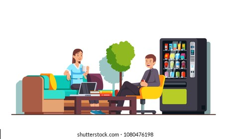 Company business workers having break in corporate cafe or office lobby, drinking coffee, energy drinks from vending machine, sitting at armchair, sofa and chatting. Flat vector isolated illustration