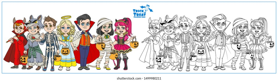 Company of children dressed in costumes of monsters and magic creatures for Halloween trick or treat color and outlined for coloring page