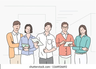 Company colleagues stand with confident expression. hand drawn style vector design illustrations.