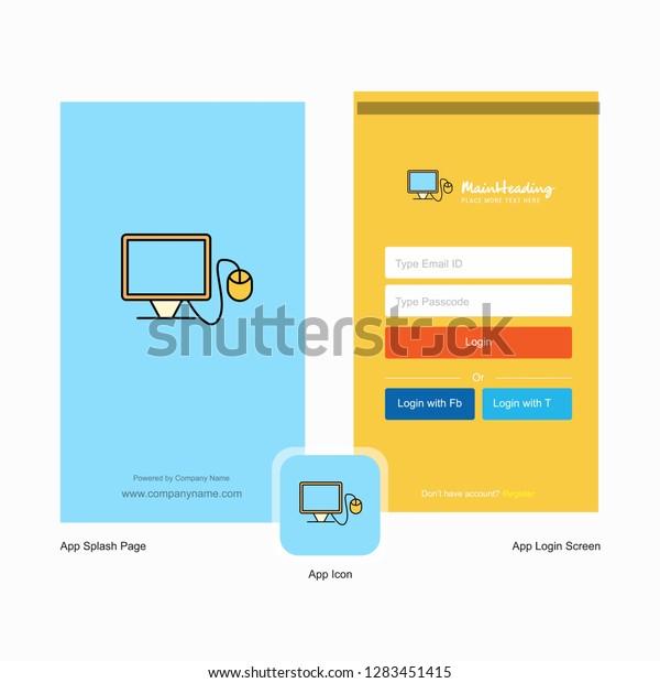 Company Computer Splash Screen Login Page Stock Vector