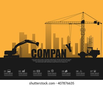 Company concept with construction machines,vector