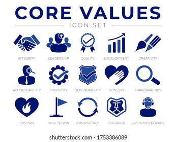 Company Core Values Icon Set. Integrity, Leadership, Quality and Development, Creativity, Accountability, Honesty, Transparency, Passion, Will to win, Consistency, Courage and Customer Service Icons.