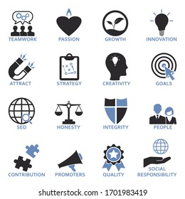 Company Core Values Icons. Two Tone Flat Design. Vector Illustration.